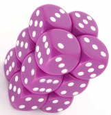 Fuchsia & White Opaque 16mm D6 Dice Block